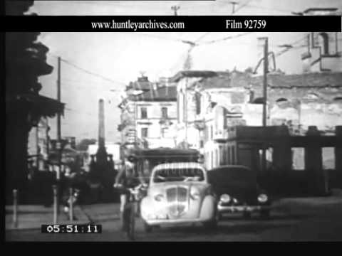 Karlsruhe, Germany, late 1940's.  Archive film 92759
