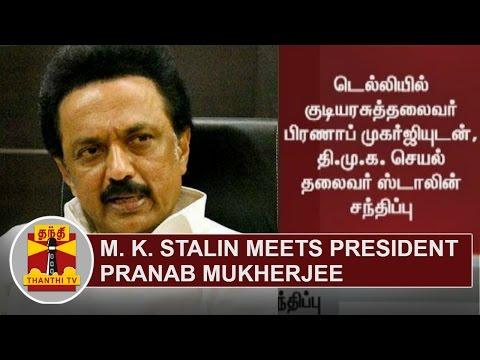 Opposition Leader M. K. Stalin meets President Pranab Mukherjee | Thanthi TV