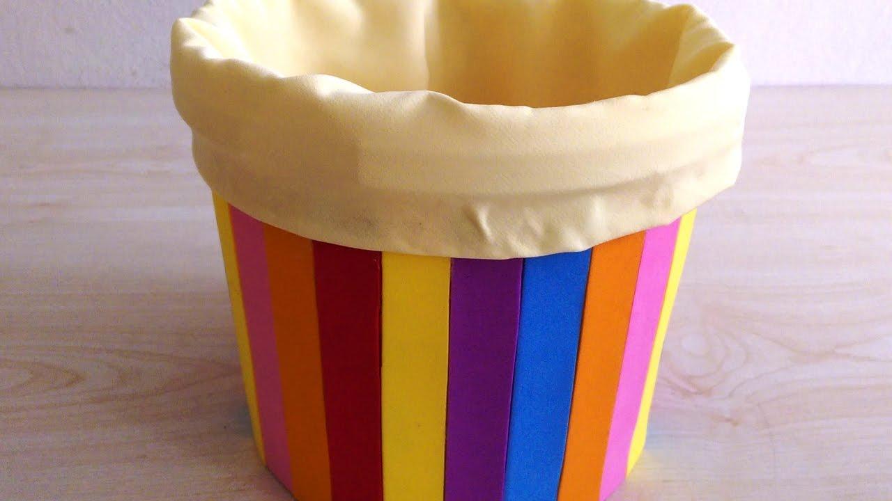 Plastic Box Decoration Diy Yoğurt Kabından Sepet Yapımı Renkli