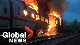 High speed ICE train catches fire in Germany