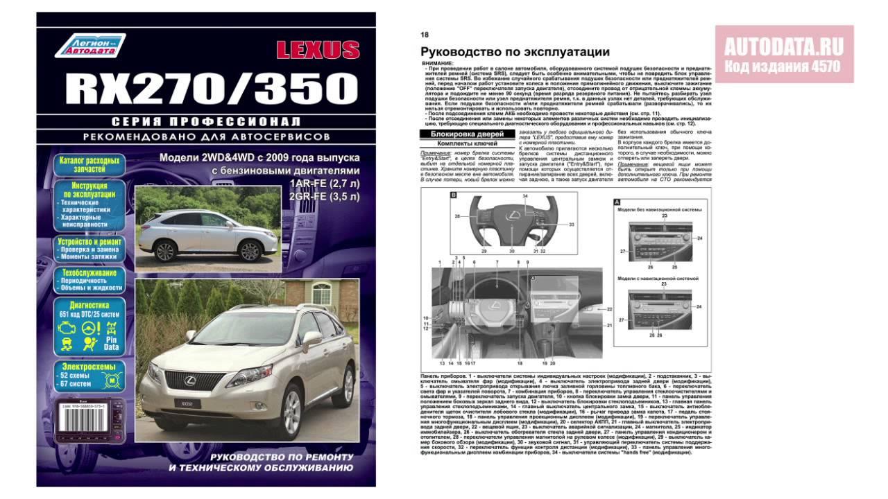 Руководство по ремонту и техническому обслуживанию Lexus RX270 / 350. Модели с 2009 года выпуска.