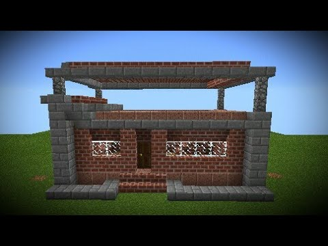 Minecraft PE Modern Suburban Brick House Speed Build Timelapse
