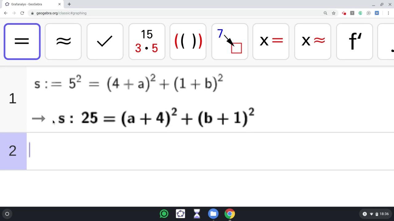 Geogebra - CAS - Hitta cirkelns ekvation med algebraisk metod