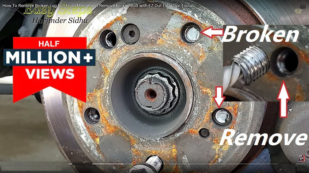 Broken Bolt Removal >> How To Remove Broken Lug Nut From Mercedes | Remove Broken Bolt with EZ Out Extractor Tool - YouTube