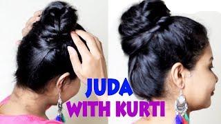 2 Juda Hairstyle with Kurti | Bun for thin hair | Juda Hairstyle | shikhas corner