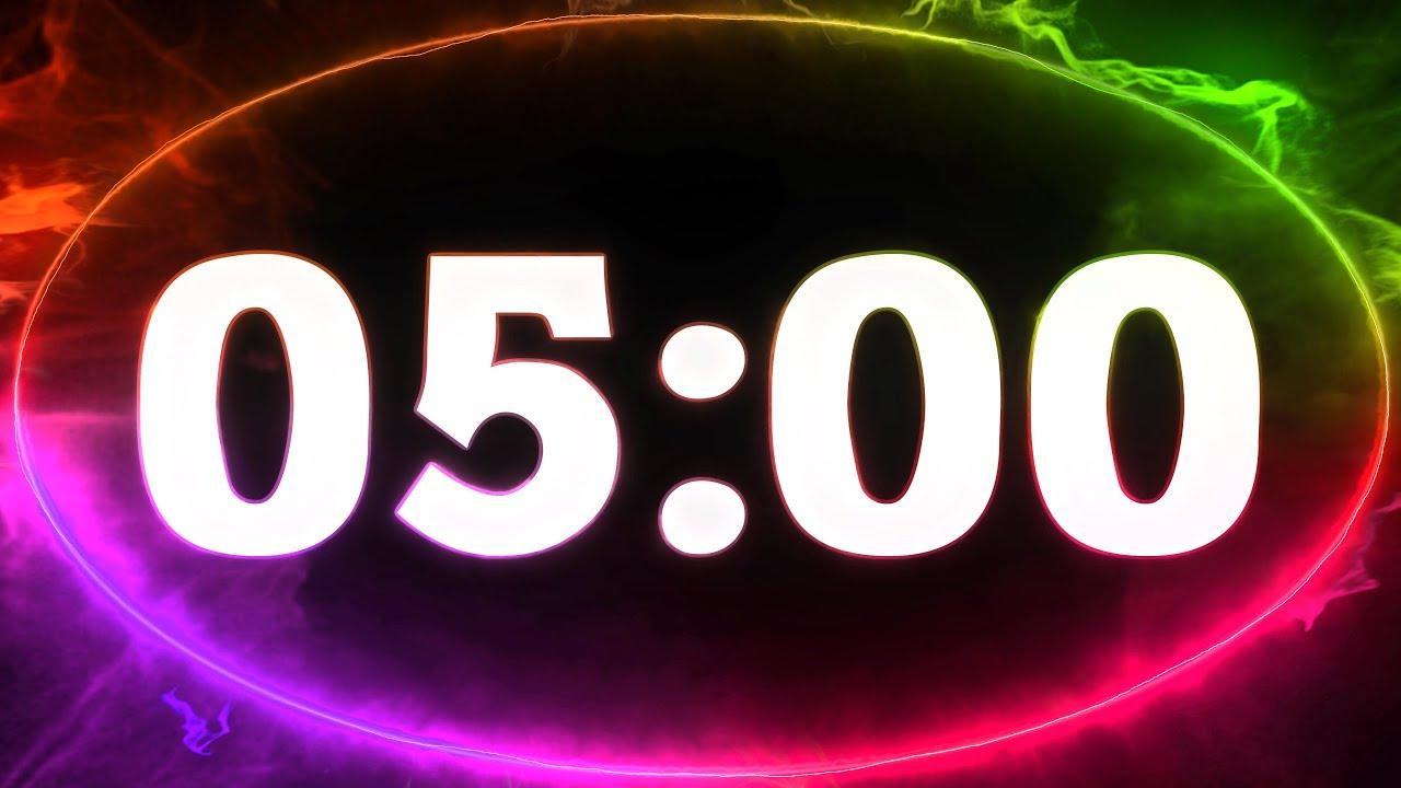 5 min COUNTDOWN TIMER ( v 712 ) TIMER with sound music 4K