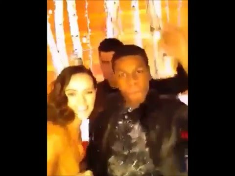 Daisy Ridley, John Boyega and Oscar Isaac dancing together in Star Wars: The Force Awakens Premiere
