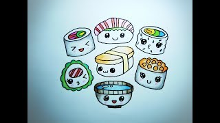 วาดรูป ซูชิ ข้าวปั้น เซทอาหารญี่ปุ่น How To Draw Sushi Set Japanese Food Cartoon Coloring Pages