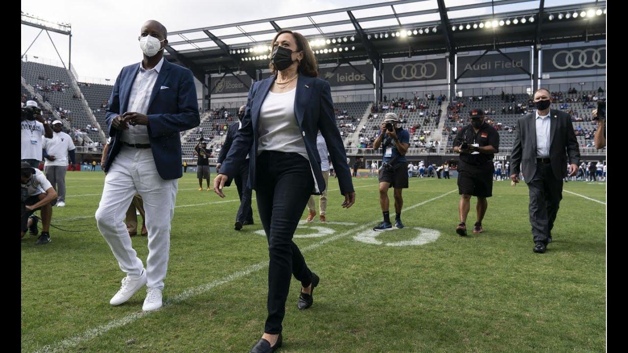 Download Vice President Kamala Harris tosses coin at Howard vs. Hampton football game