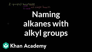 Naming Alkanes with Alkyl Groups(Naming Alkanes with Alkyl Groups More free lessons at: http://www.khanacademy.org/video?v=KKAD-OOOHxg., 2010-07-21T22:28:06.000Z)