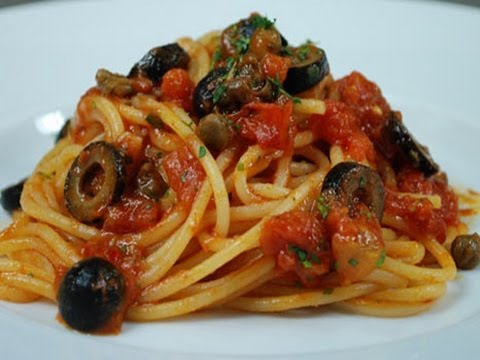 Spaghetti alla puttanesca, italian traditional recipe