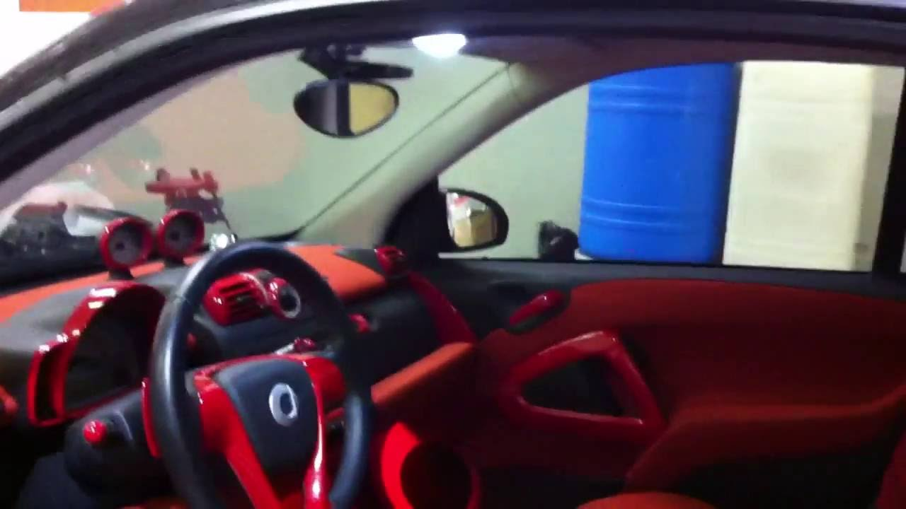 smart car with new interior lights youtube. Black Bedroom Furniture Sets. Home Design Ideas