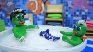 KIDS PLAYING IN BATHTUB - CLAY & PLAY DOH CARTOONS FOR KIDS