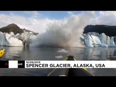 Colapso de glaciar ameaça canoístas no Alasca