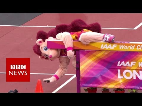 Hurdle proves too much for athletics mascot Hero- BBC News