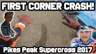 FIRST CORNER CRASH! | YZ125 & KX450F - Pikes Peak Supercross 2017 | DwD #103