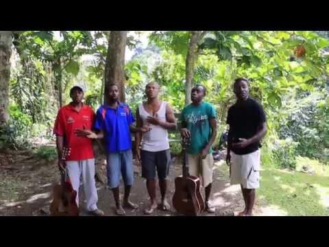 Group sings Vanuatu at Cascade Falls