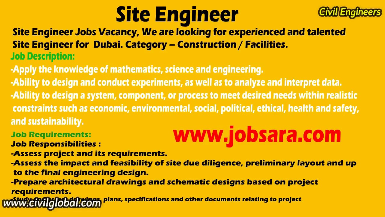 Amazing Civil Engineering Job Vacancy In Dubai