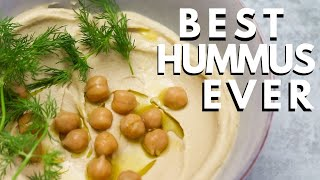 Smoothest, creamiest hummus of ALL TIME + garlic naan recipe