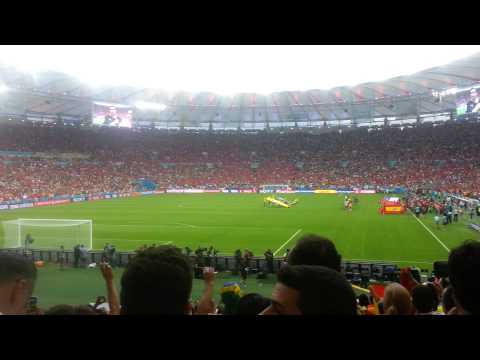 Chile fans sing National Anthem against Spain WC 2014