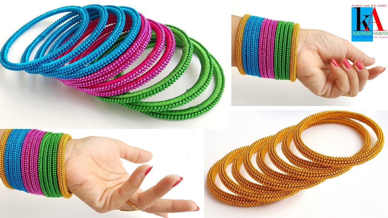 How to make silk thread fancy side bangles | silk thread bangles ...