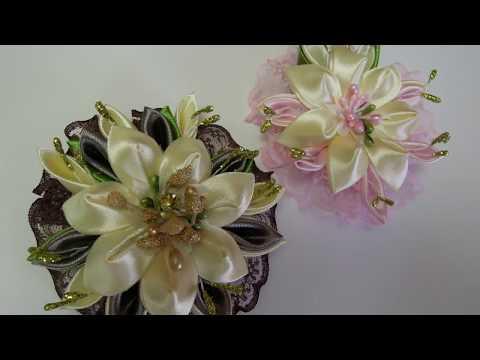 Заколка - Брошь Своими Руками. Мастер класс. /DIY /KANZASHI  / Flower / Tutorial /Ribbon