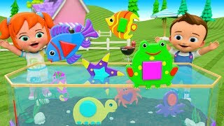 Little Babies Fun Play Learning Shapes for Children with Aquarium Sea Animals Shapes Toys 3D Kids