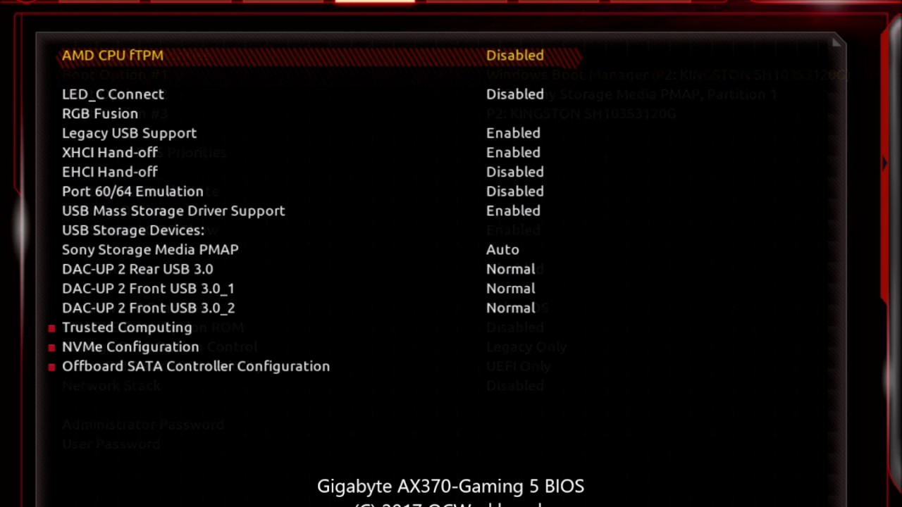 BIOS of Gigabyte AX370-Gaming 5 motherboard