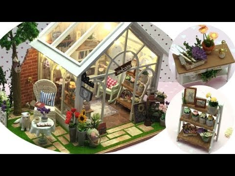 Flower Shop/green House Miniature Kit  Cuteroom  Assembly  DIY  Dollhouse