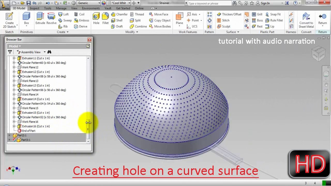 Creating Hole On A Curve Surface Autodesk Inventor With