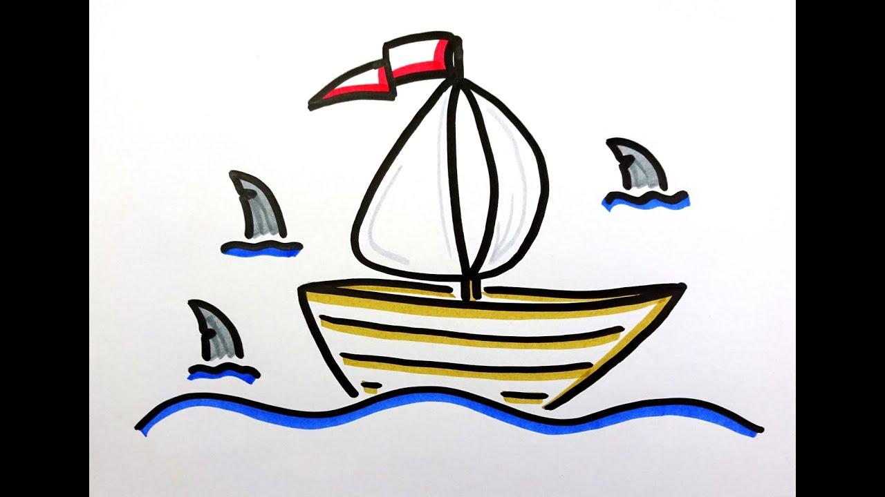 Flipchart Gestalten Segelboot Schiff Meer Haie Gefahr