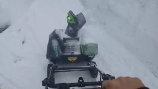 Greenworks 20' 80v Cordless Snow Blower Removing Snow