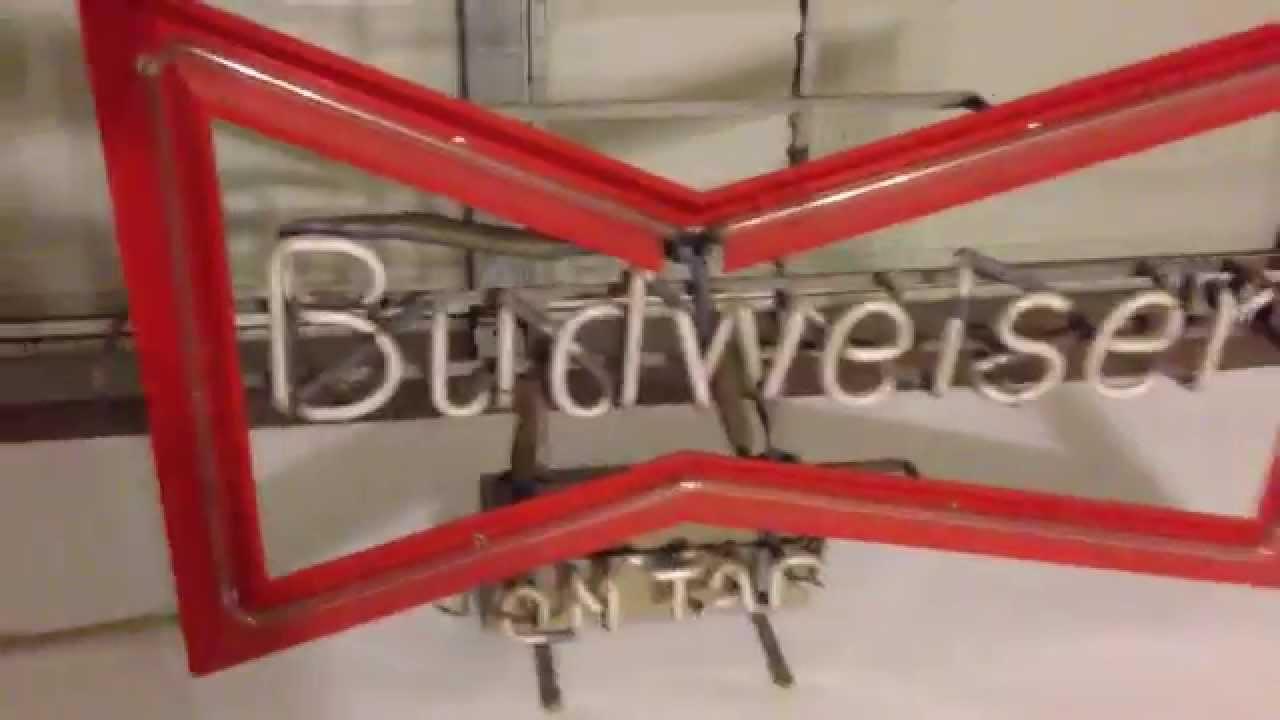 Budweiser Bowtie On Tap Neon Sign