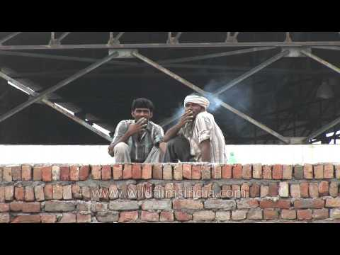 Indian workers smoke at a construction site in Faridabad