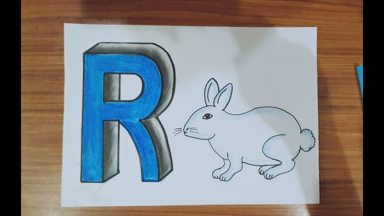 How to draw the letter R in 3D #draw rabbit