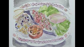요리하고 그리기: 가지 토마토 감자 오븐구이와 토마토 …