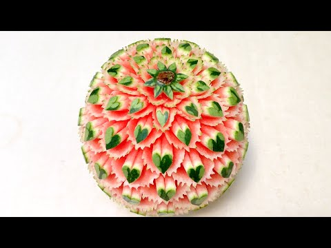 How to Make Hearts On Melon | Advanced Lesson 32 | By Mutita Art Of Fruit Or Vegetable Carving Video