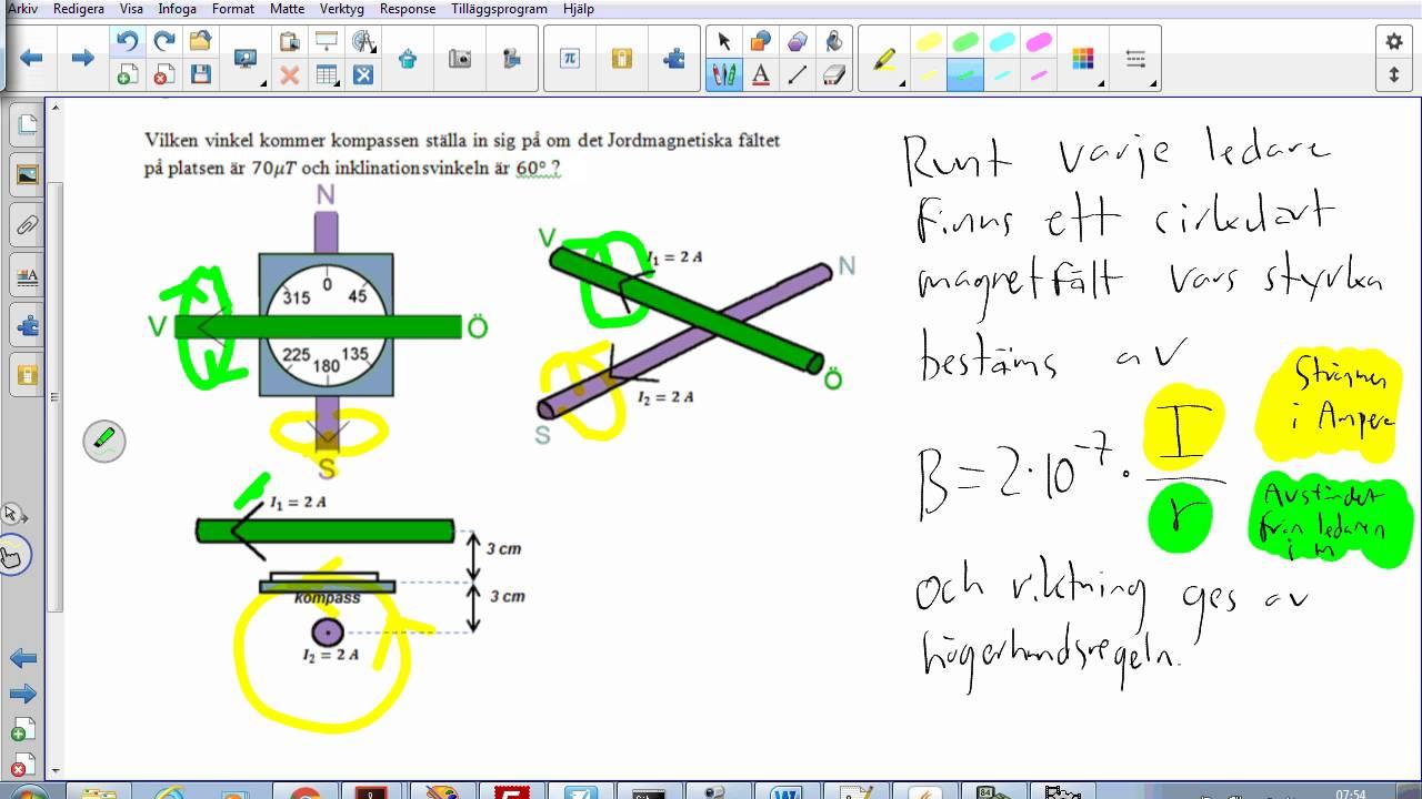 Fysik 2 - Blandade provuppgifter - Uppgift 10 ( Magnetfält + kompass )