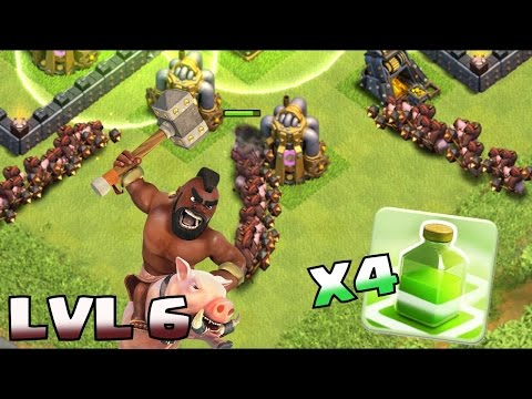 Clash Of Clans - LVL 6 HOGS + JUMP SPELLS!! (Clash of Clans TH11 Troll)