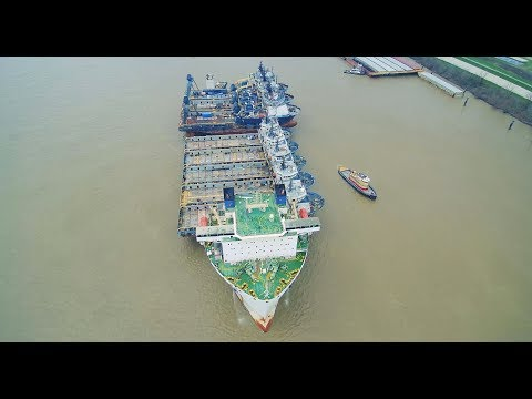 Semi-Submersible Ship Undocks from Belle Chasse