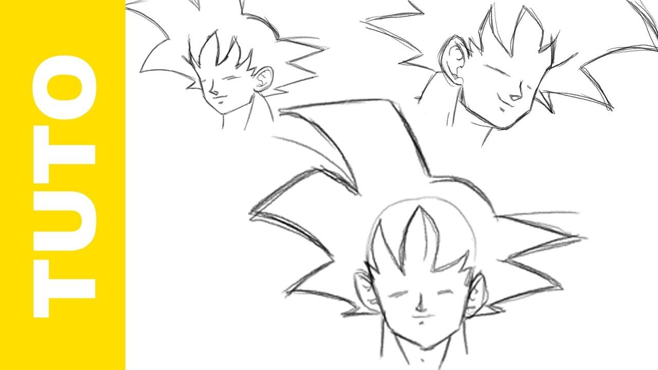 Comment Dessiner Dragon Ball Z La Tete De Goku Youtube