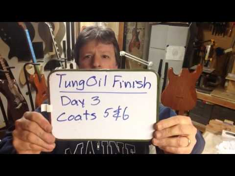 Boudreau Guitars - Finishing Dave's mahogany Strat with Tung oil Part 2