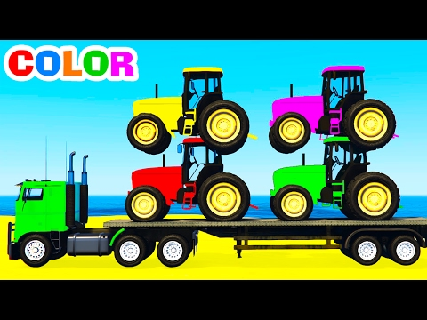 Thumbnail: COLOR TRACTORS on Truck & Spiderman Cars Cartoon for Kids and Colors for Children w Nursery Rhymes