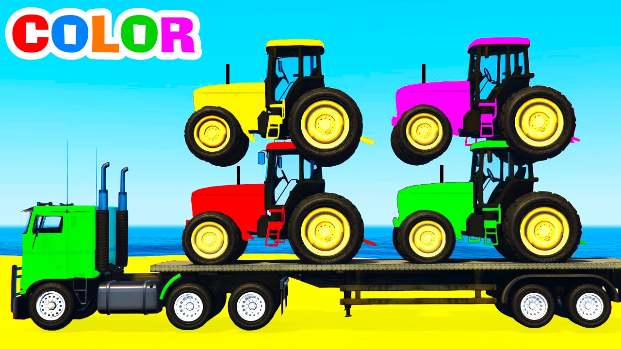Color tractors on truck cars cartoon for kids and colors - Tracteur cars ...