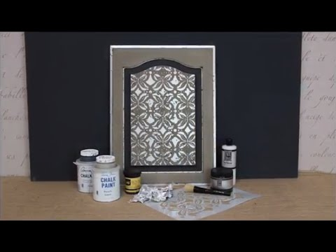 How To Stencil Tutorial Distressed Silver Leaf Chalk Paint Cabinet Door