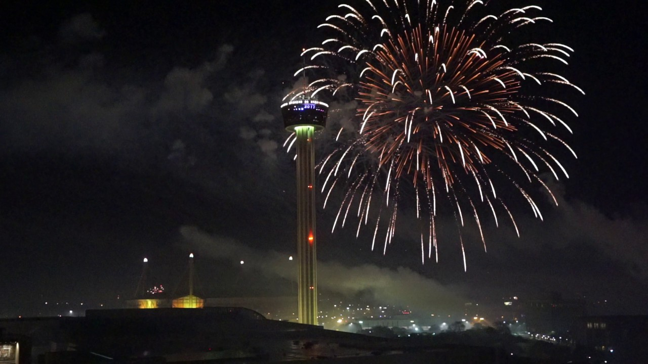 Downtown San Antonio New Years Eve fireworks from the ...