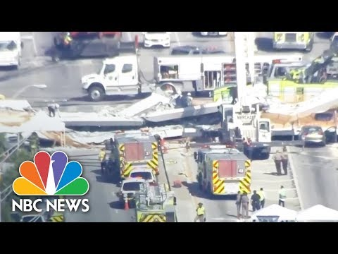 Officials Say Eight Vehicles Were Trapped In Pedestrian Bridge Collapse   NBC News