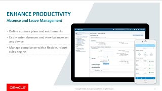 Oracle absence management cloud service (absence management) is a highly configurable rules-based application that enables you to efficiently manage employee...