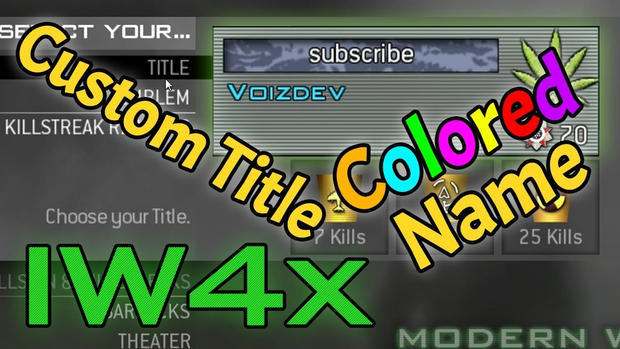 How To Set A Colored Name and Custom Title In IW4x