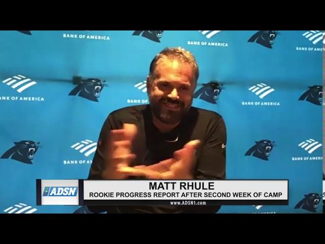 Matt Rhule talks about rookie progress during training camp